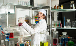 Amazed chemist Stock Photos