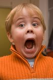 Amazed child with mouth wide open. Little boy making a face trying to show amazement Royalty Free Stock Images