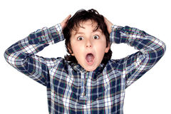 Amazed child with plaid t-shirt Stock Images