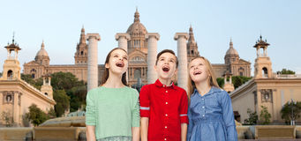 Amazed children over national museum of barcelona Royalty Free Stock Image