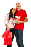 Amazed Christmas couple looking up Royalty Free Stock Image