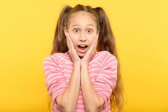 Amazed dumbstruck shocked gasping girl emotion stock images