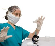 Amazed female scientist Stock Photo