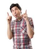 Amazed funny man pointing up. Amazed man pointing up. Isolated on white background Royalty Free Stock Photos