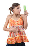 Amazed funny teenager looking comb over white back Royalty Free Stock Images