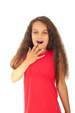 Amazed girl with long hair royalty free stock photography
