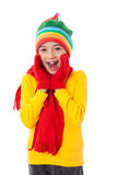 Amazed girl in winter clothes. Isolated on white Royalty Free Stock Images