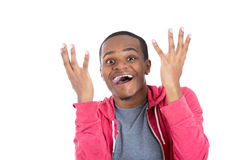 Amazed and happy handsome black guy Royalty Free Stock Photo