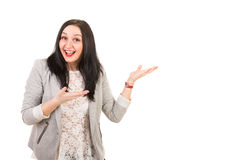 Amazed happy woman make presentation Stock Photo