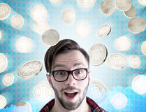 Amazed hipster guy in glasses, bitcoins Stock Photos
