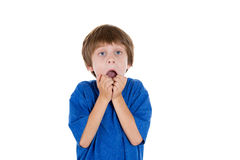 Amazed kid, hand in mouth and jaw dropped Stock Photography