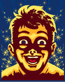 Amazed kid surprised face, magic vintage vector illustration Royalty Free Stock Images