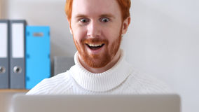 Amazed Man in Shock, Positive Surprise for Man with Red Hairs and Beard Stock Photo
