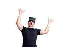 Amazed man using virtual reality glasses Royalty Free Stock Photo