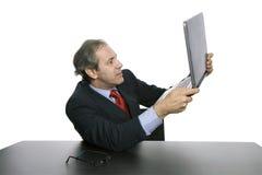 Amazed. Mature business man amazed with his laptop Stock Image