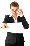 Amazed modern business woman giving document Stock Photos