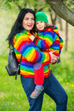 Amazed mother and son in park Stock Image