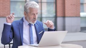 Amazed Old Businessman in Awe by Results, Outdoor. The Amazed Old Businessman in Awe by Results, Outdoor, high quality stock footage