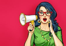Amazed Pop art girl in glasses with megaphone saying something. Woman with loudspeaker. vector illustration