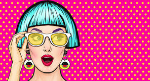 Amazed Pop Art girl in glasses. Party invitation.Birthday card.Comic woman.Sexy girl. Stock Photography