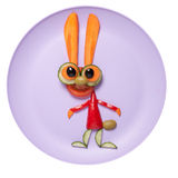 Amazed rabbit made of vegetables on pink plate Royalty Free Stock Photos