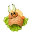 Amazed sandwich rabbit. Made on isolated background Royalty Free Stock Image