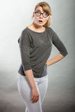 Amazed shocked girl wide open mouth. Royalty Free Stock Image