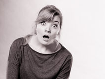 Amazed shocked girl wide open mouth. Stock Images