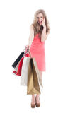 Amazed shopping girl Stock Images