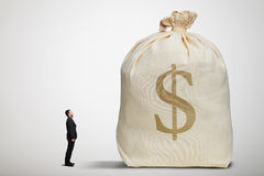 Amazed small businessman with open mouth looking at big bag. With money over light grey background Royalty Free Stock Photo