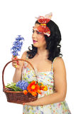Amazed spring woman with hyacinth Royalty Free Stock Photography
