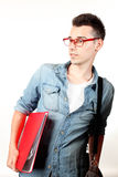Amazed student with red notebook and red glasses Royalty Free Stock Photography