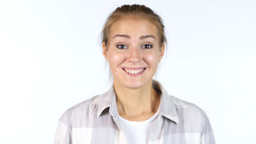 Amazed by Surprise, Portrait of Happy Beautiful Girl, White Background Stock Images