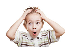 Amazed or surprised boy Royalty Free Stock Images