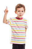 Amazed or surprised boy. Gesturing exclamation point finger sign Stock Photo
