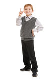 Amazed or surprised child boy. Amazed or surprised boy gesturing exclamation point finger sign Stock Photo