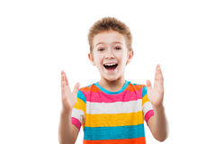 Amazed or surprised child boy showing large size Royalty Free Stock Images