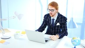 Amazed Surprised Man with Red Hairs at Work. 4k , high quality Royalty Free Stock Photo