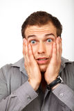 Amazed surprised or scared man concept Stock Image