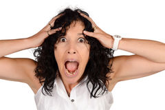 Amazed and surprised woman. Royalty Free Stock Images