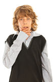 Amazed teen boy. Holding hand to mouth isolated on white background Royalty Free Stock Photos