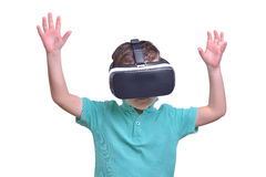 Amazed teen boy wearing virtual reality goggles watching movies Royalty Free Stock Photography