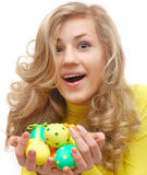 Amazed teenage girl with easter eggs Stock Photography