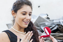 Amazed teenager receives a ring as a gift Royalty Free Stock Photo