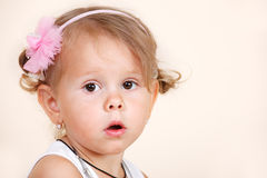 Amazed toddler girl. Portrait of an amazed toddler girl Stock Photography