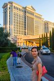Amazed  tourist walking by Caesar's Palace Hotel Stock Photography