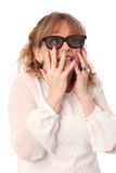 Amazed woman with 3D glasses Royalty Free Stock Photo