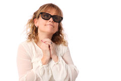 Amazed woman with 3D glasses Royalty Free Stock Photos