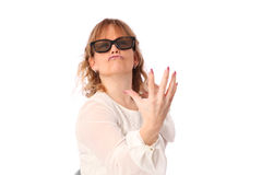 Amazed woman with 3D glasses Stock Images
