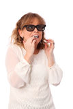 Amazed woman with 3D glasses Stock Photography